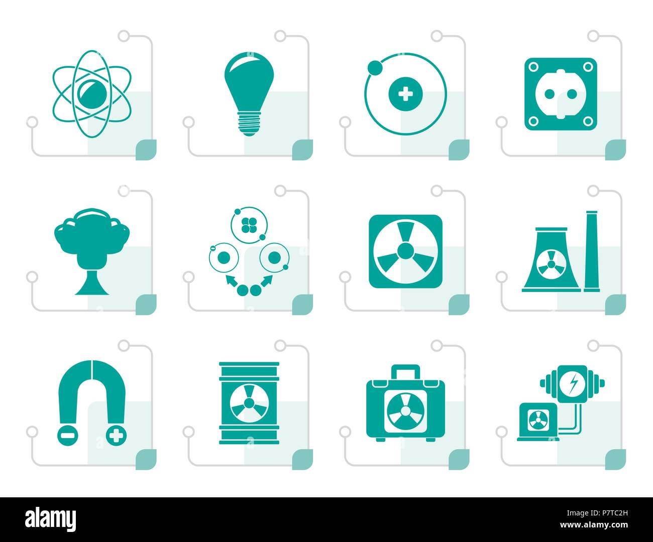 Stylized Atomic and Nuclear Energy Icons - vector icon set - Stock Vector