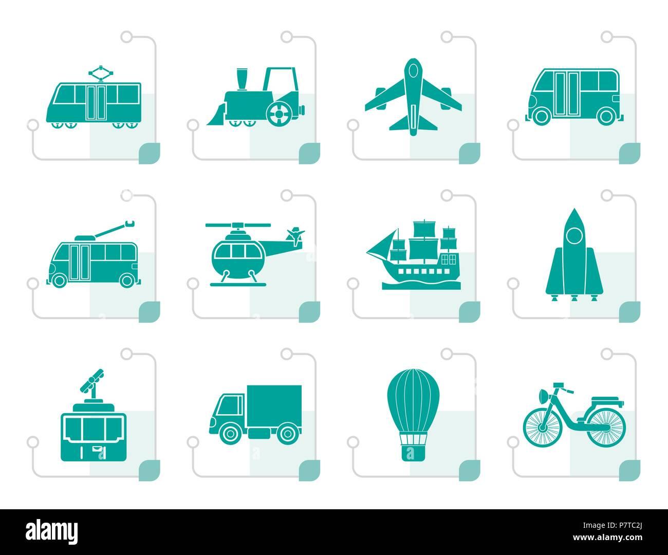Stylized Travel and transportation icons - vector icon set - Stock Image