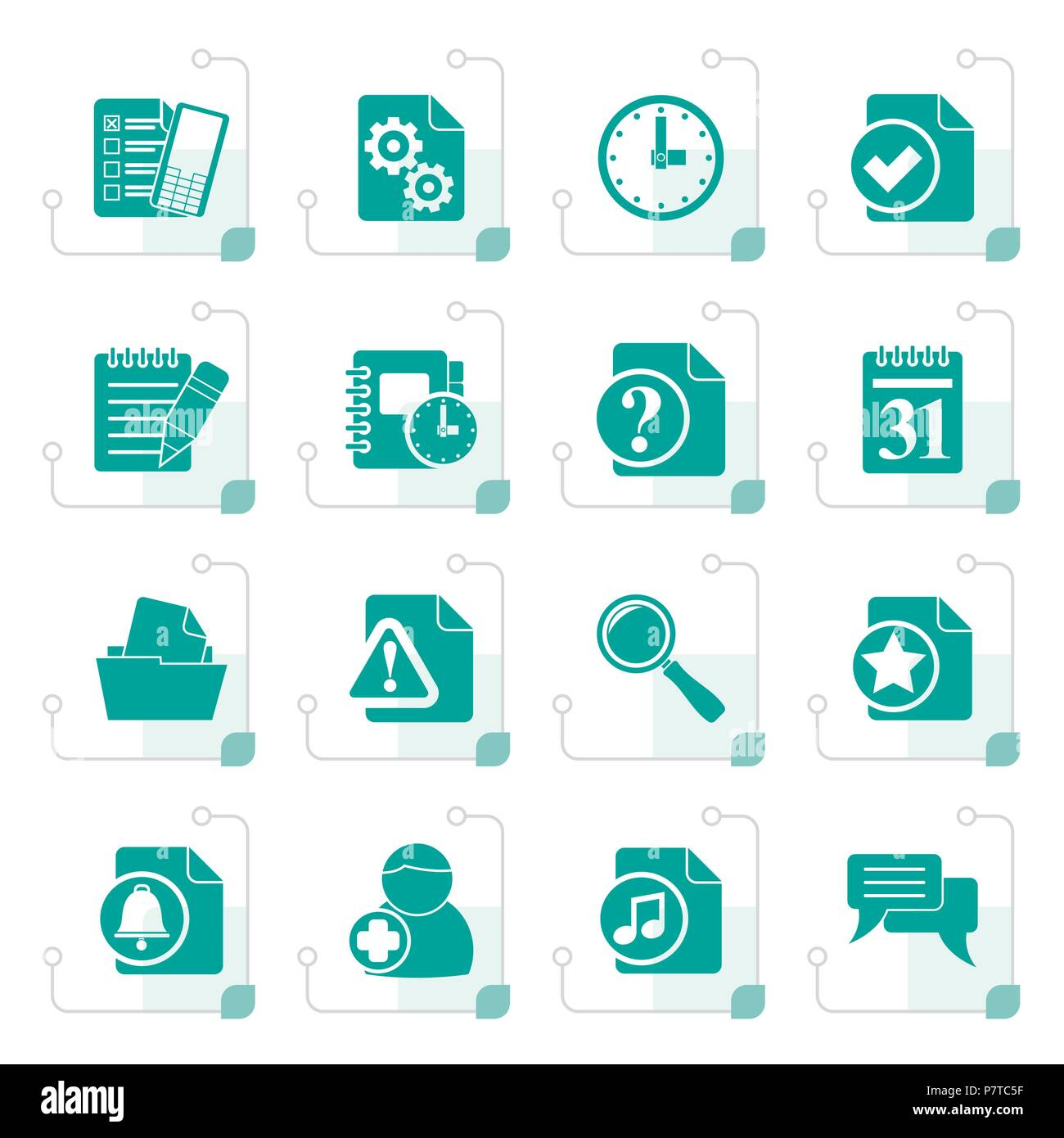 Stylized Organizer, communication and connection icons - vector icon set - Stock Vector