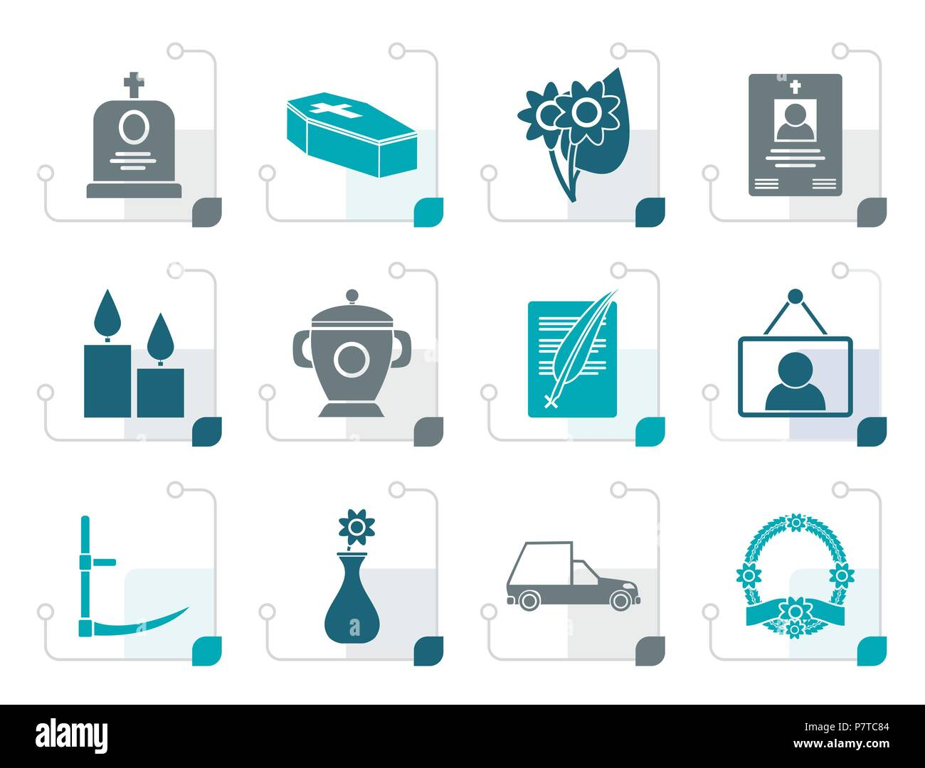 Stylized funeral and burial icons - vector icon set - Stock Vector