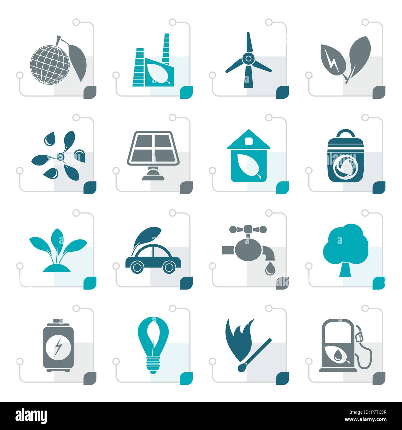 Stylized Green, Environment and ecology Icons - vector icon set - Stock Vector