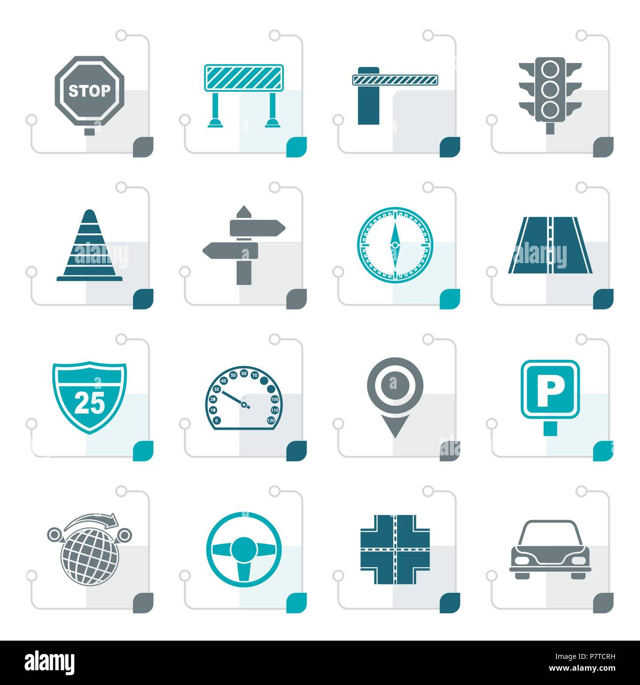 Stylized Road and Traffic Icons - vector icon set - Stock Image