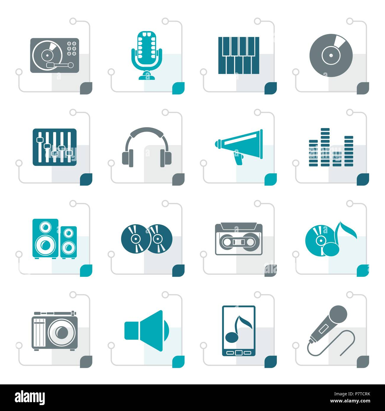 Stylized Music and audio equipment icons - vector icon set - Stock Image