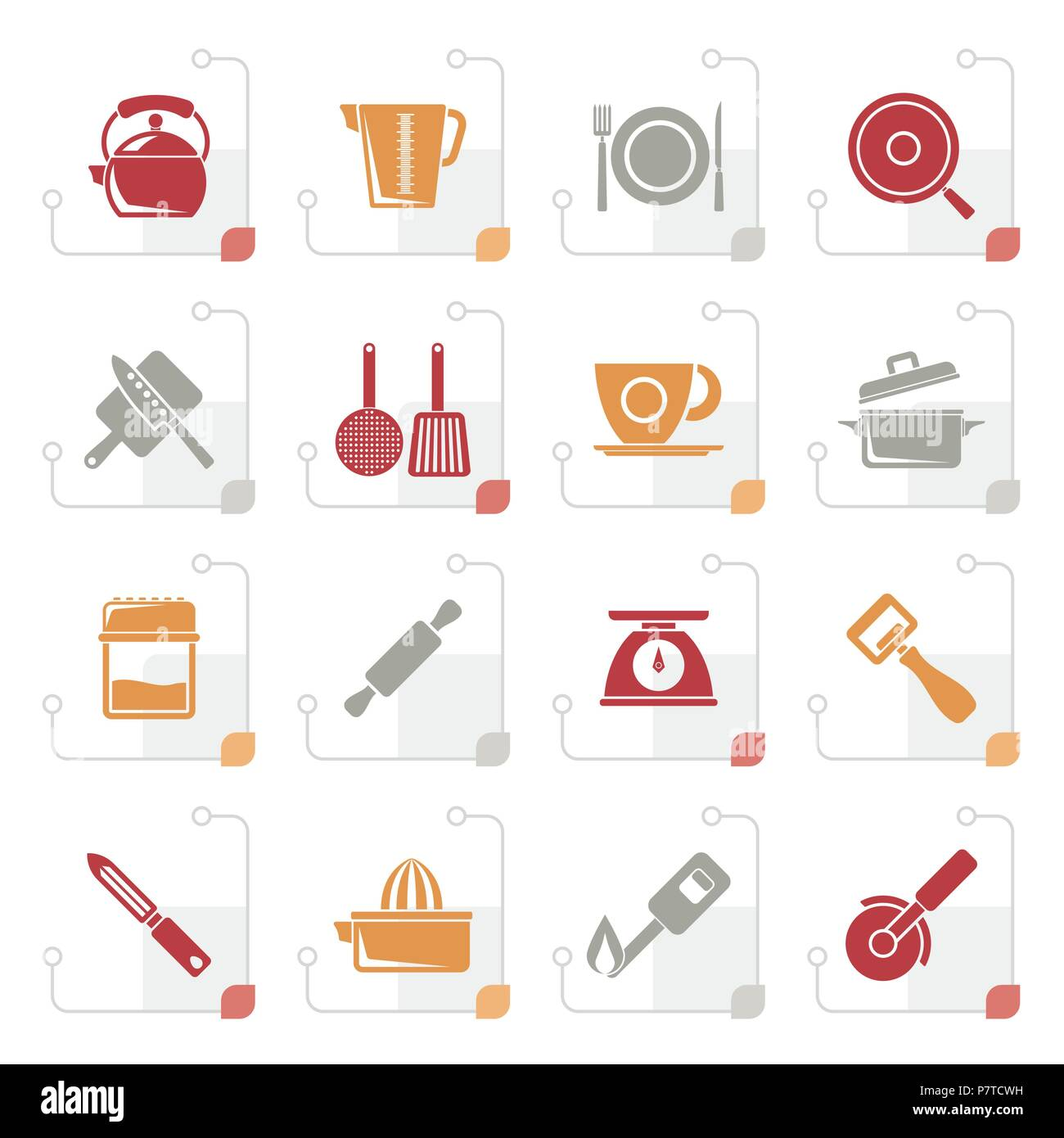 Stylized kitchen gadgets and equipment icons - vector icon set - Stock Image
