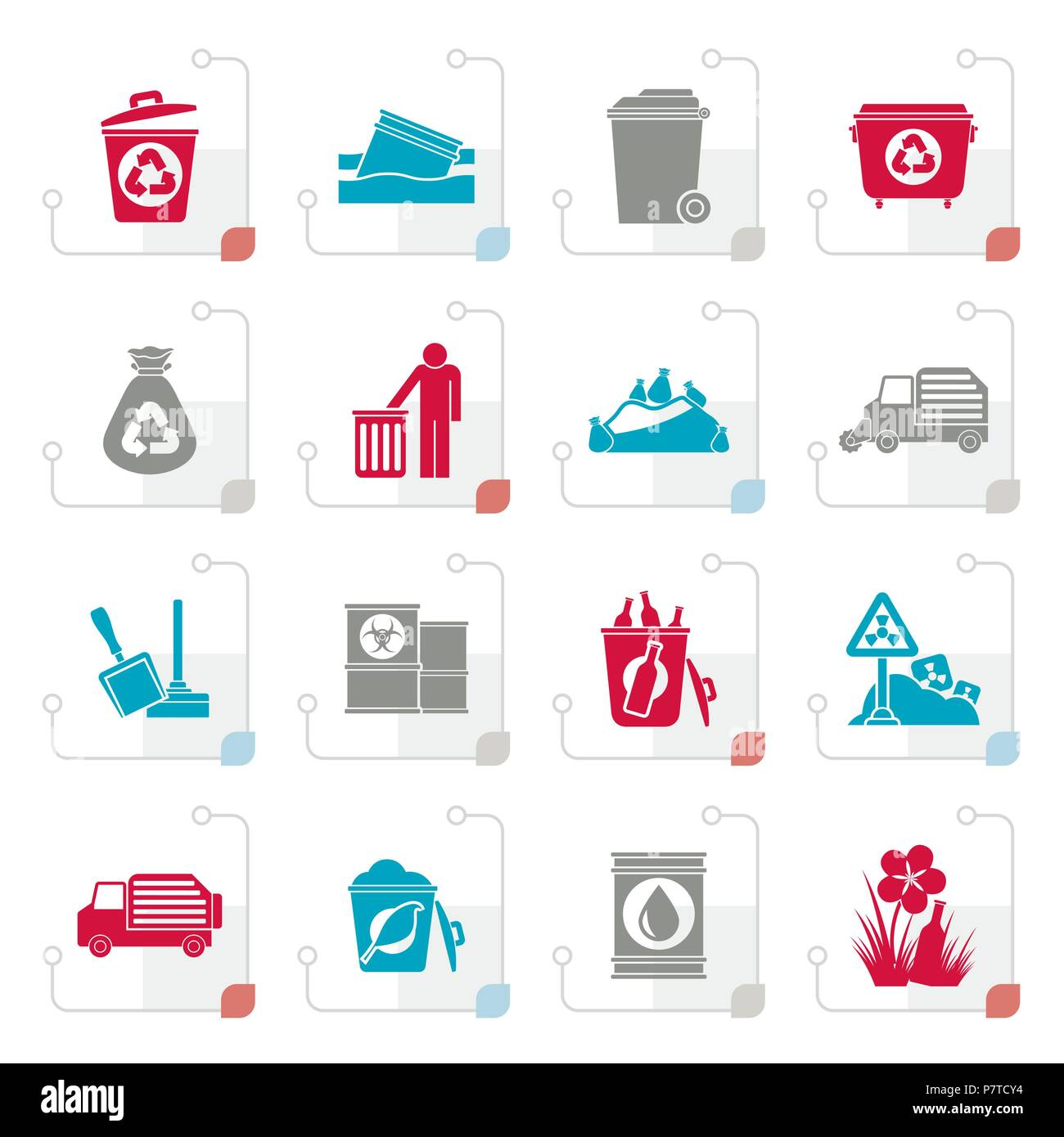 Stylized Garbage and rubbish icons - vector icon set - Stock Vector