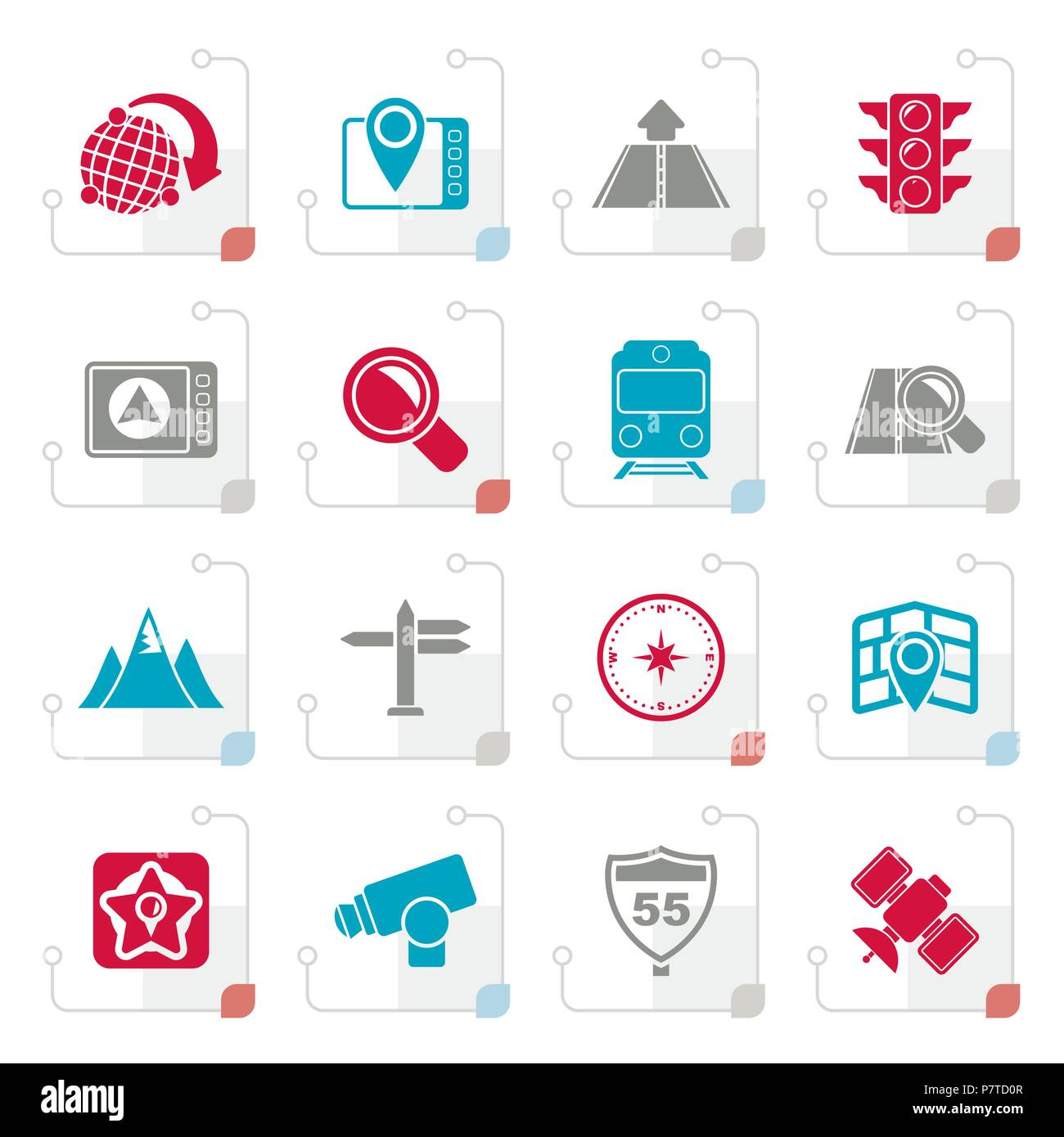 Stylized Map, navigation and Location Icons -vector icon set - Stock Vector
