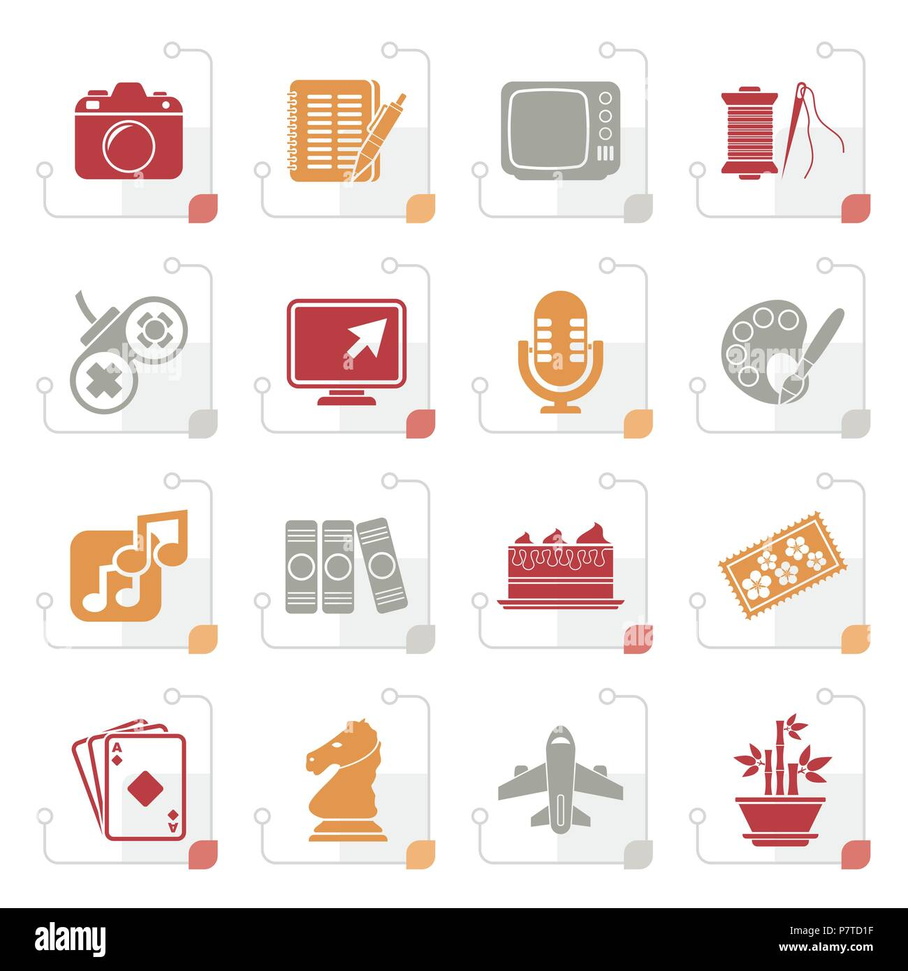 Stylized Hobbies and leisure Icons - vector icon set - Stock Image