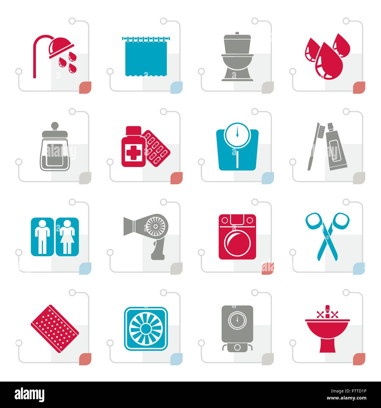 Stylized Bathroom and Personal Care icons- vector icon set 2 - Stock Image
