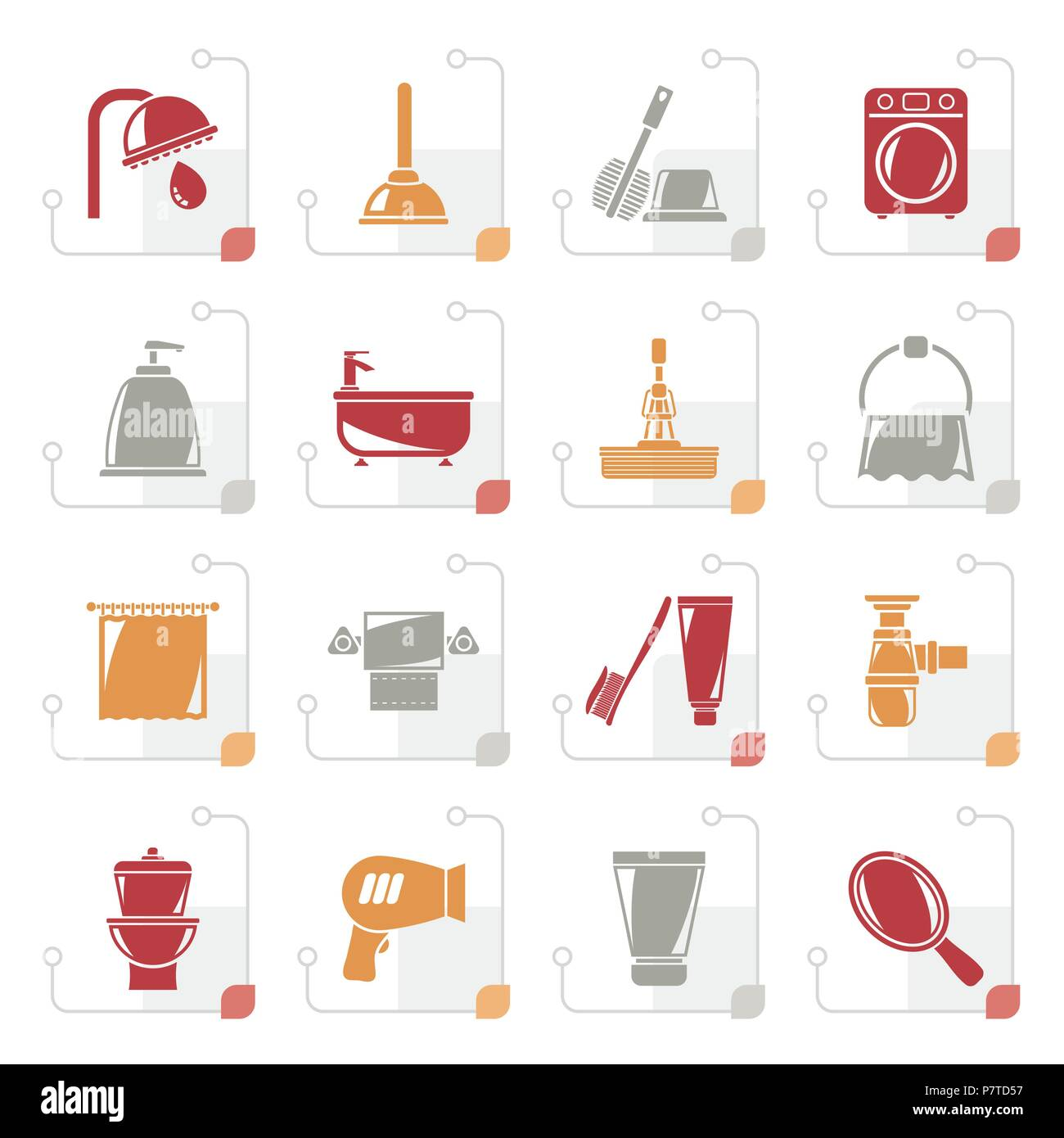Stylized Bathroom and hygiene objects icons -vector icon set - Stock Image