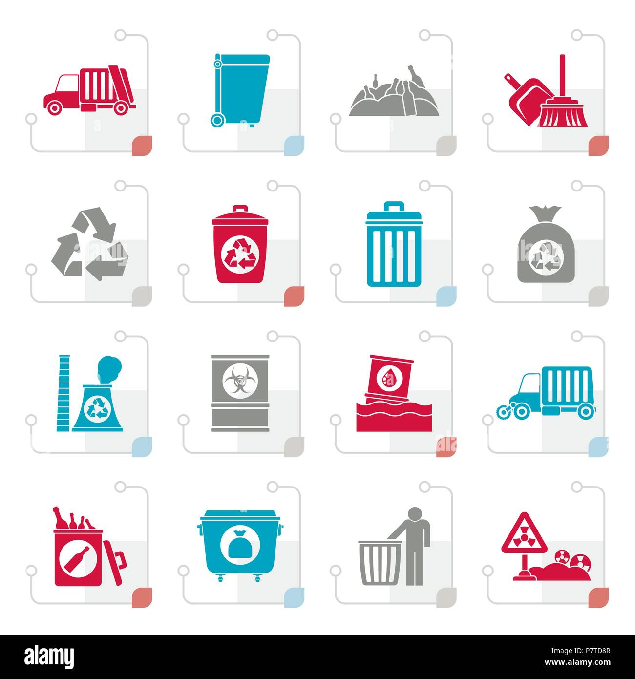 Stylized Garbage, cleaning and rubbish icons - vector icon set - Stock Vector