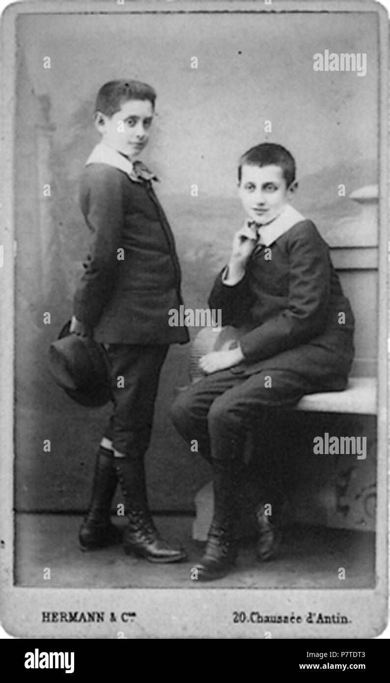 Francais Marcel Proust Et Son Frere Robert En 1885 Photo Carte De Visite Par