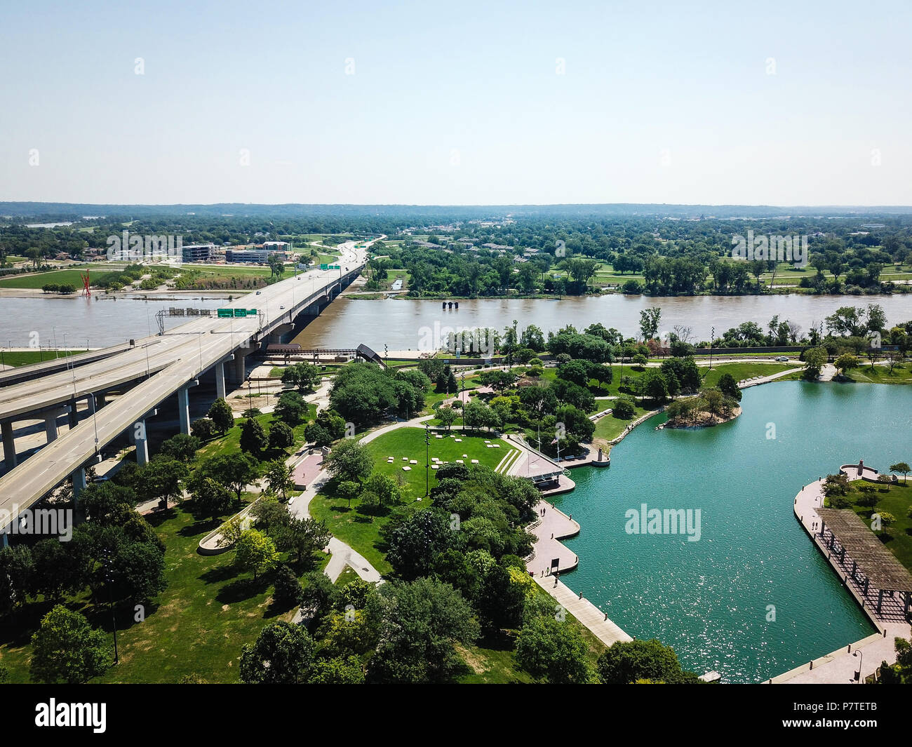 Omaha Skyline Nebraska USA Aerial Drone - Stock Image