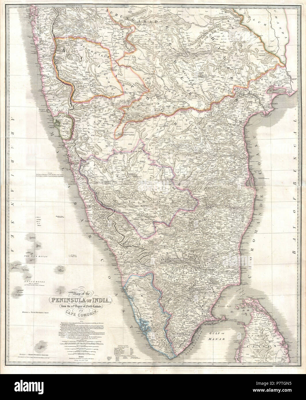 . Map of the Peninsula of India, from the 19th. Degree of North Latitude, to Cape Cormorin.. English: This stunning wall map of India, dating to 1838 is James Wyld's reissued of William Faden's important c. 1799 map of the same region. This is one of the largest and most impressive maps of India to emerge in the 19th century. This chart depicts the subcontinent from Bombay ( Mumbai ) and Aurangabad, south including the northern half of Sri Lanka (Ceylon). Though largely based on the 18th century mapmaking work of James Rennell, Wyld has significantly updated the Faden's cartographic representa - Stock Image
