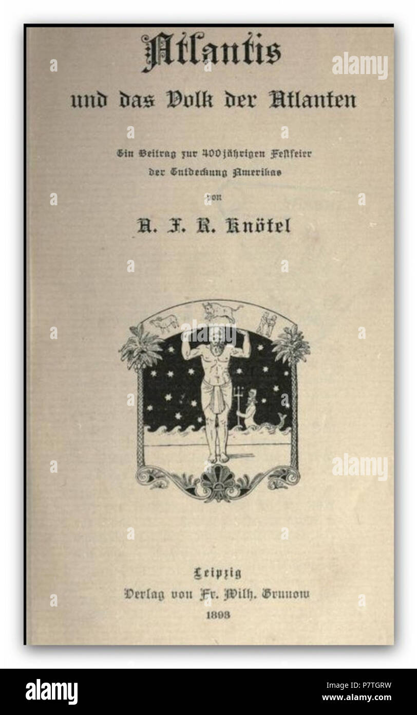 4 KNÖTEL(1893) Atlantis und das Volk der Atlanten - Stock Image