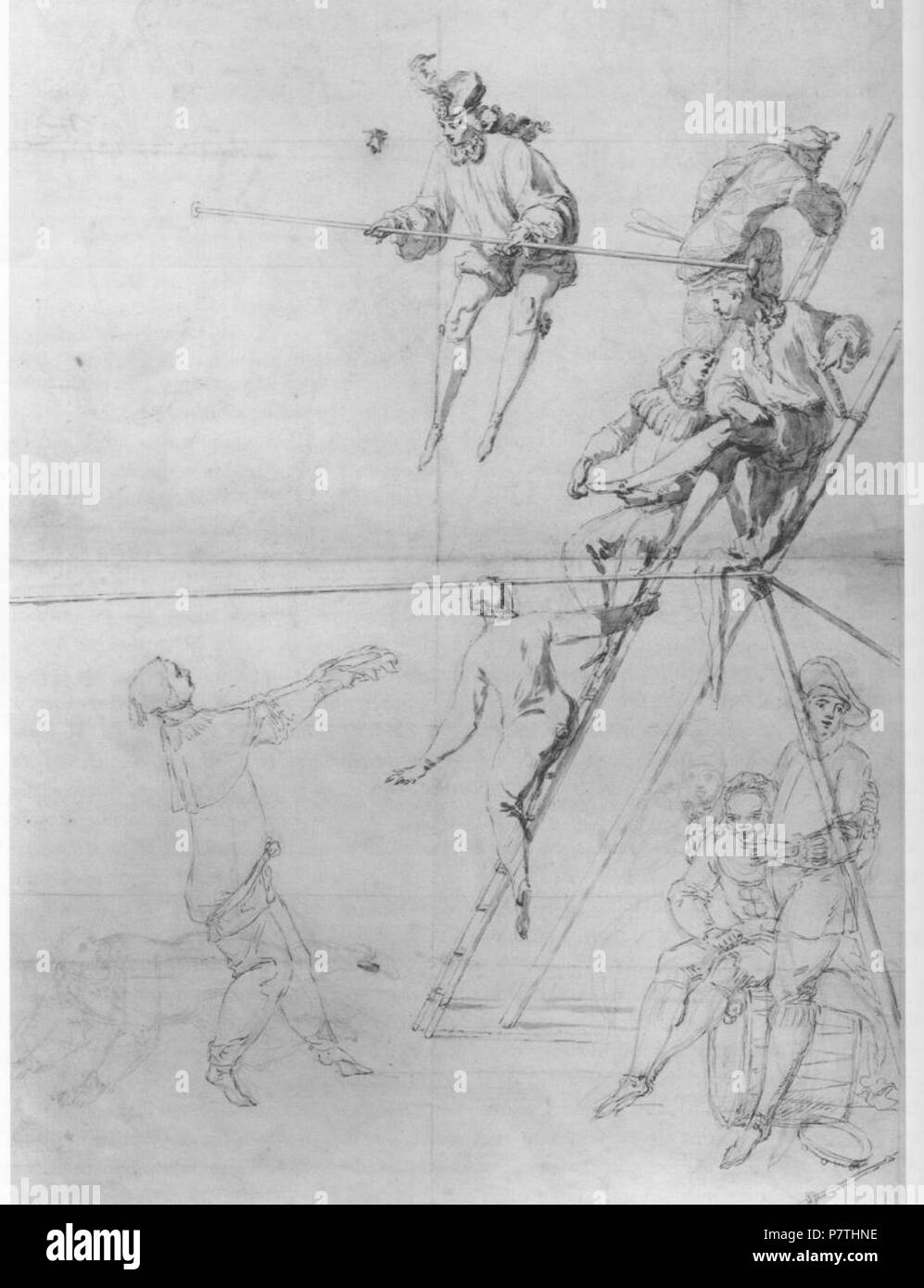 In the Nationalmuseum, Stockholm; 83 cm x 56 cm. Description in the book Painters and Public Life in Eighteenth-Century Paris (Crow, Thomas E.; Yale University Press, 1985): 'A large, unfinished drawing by Claude Gillot now in Stockholm illustrates precisely the newly mixed theatrical genre that resulted (Plate 14): while an acrobat leaps several feet above the tightrope, various actors from the Italian comedy gather below; Harlequin climbs the standard that supports the rope, one pretends to be able to catch a falling performer in his hat.' . Unknown date 13 Acrobats and Figures from the Comm - Stock Image