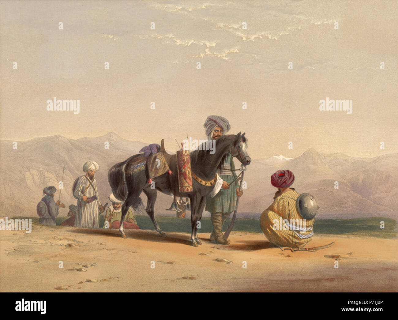 Jaunbauz, or Afghan cavalry, with horse, bearing implements for smoking This lithograph is taken from plate 17 of 'Afghaunistan' by Lieutenant James Rattray. He wrote: 'Never were a wilder, more devil-may-care set of fellows seen than the Afghan cavalry'. Known as Jaanbaz (meaning 'life gamblers'), the cavalry in the Shah's service often became mercenaries in the British army. Heavily armed, and very often professional robbers, they became soldiers when it suited them, said Rattray: 'They take our service because we paid them well and regularly, but a great deal of the savoir faire was require Stock Photo