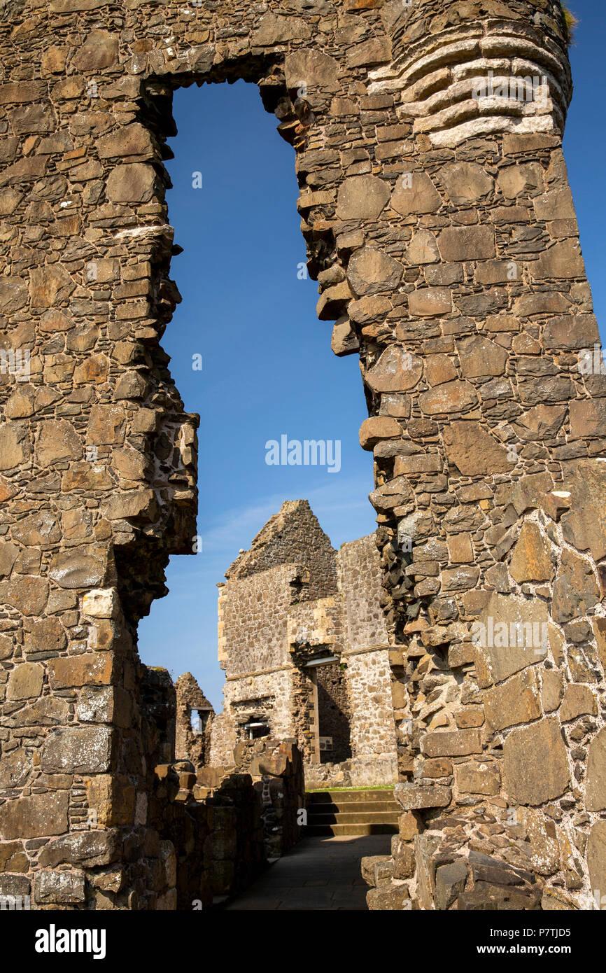 UK, Northern Ireland, Co Antrim, Dunluce Castle, Manor House through gatehouse Stock Photo