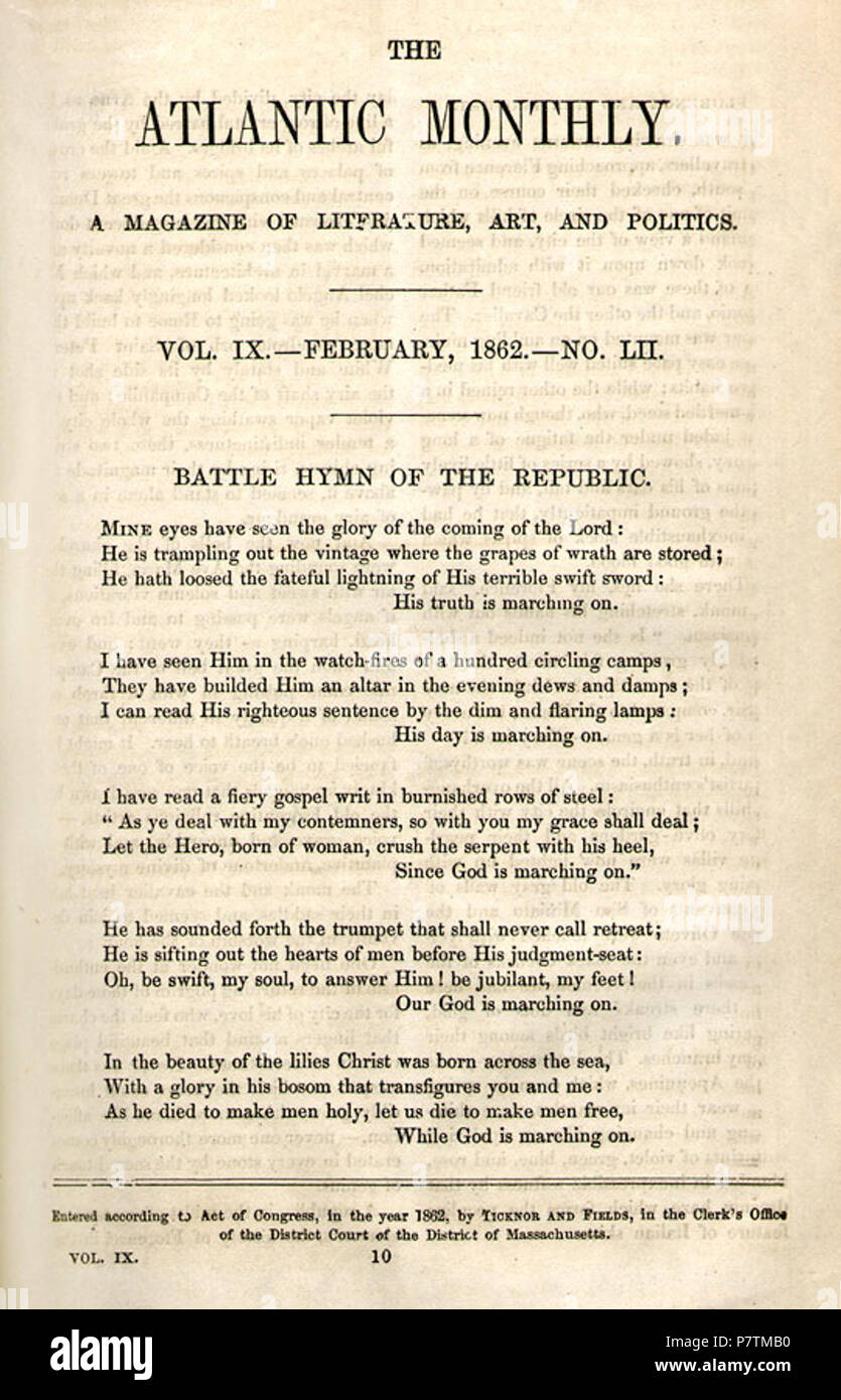 N/A  N/A 35 Battle Hymn of the Republic Stock Photo: 211369844 - Alamy