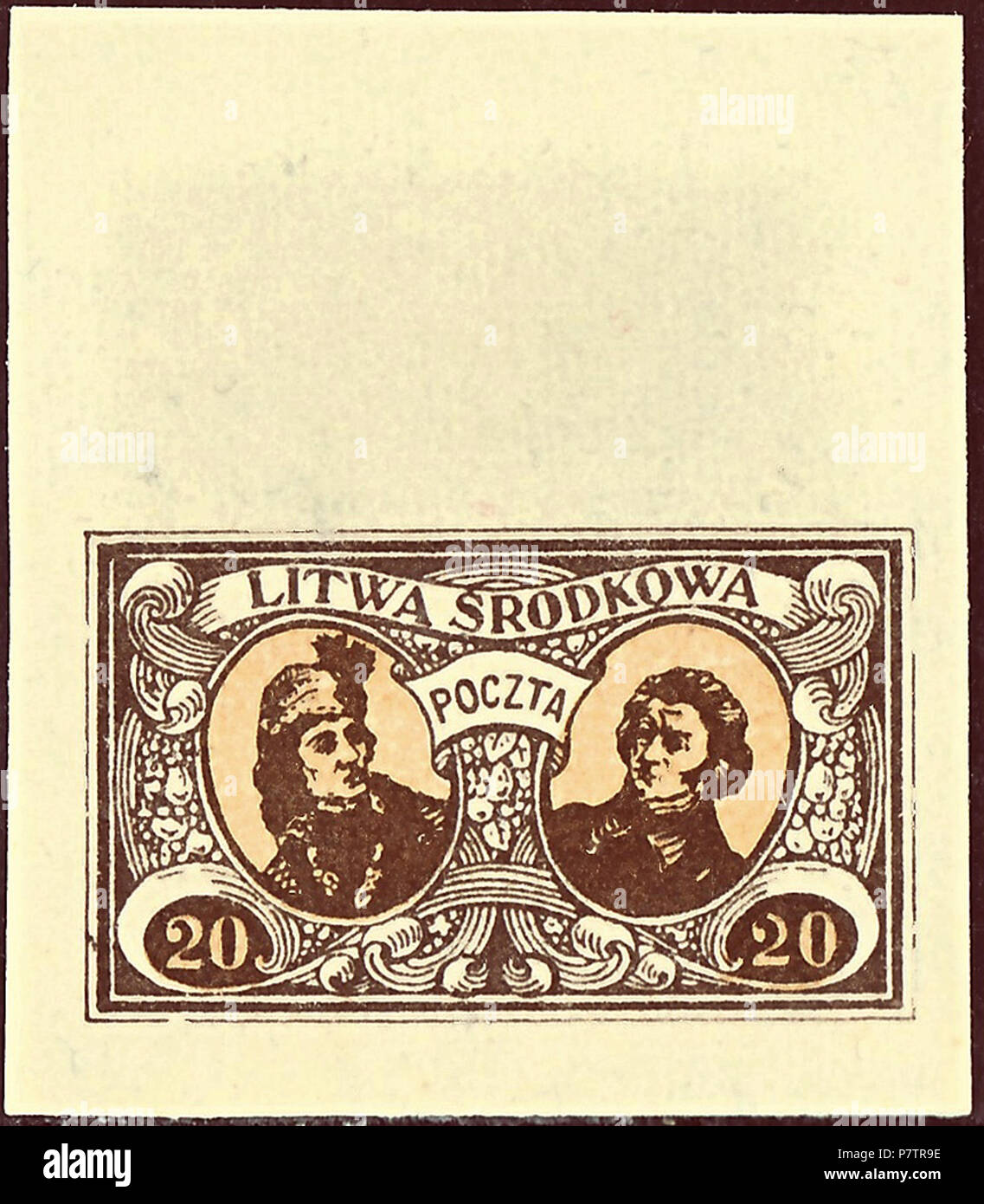 Stamp Of Central Lithuania; 1921; Michel No. 41B, Postage Stamp Issue; 20 (M.);  Dark Brown/light Brown; Two Portraits In Sloping Ovals Nominal Value: 20 ...