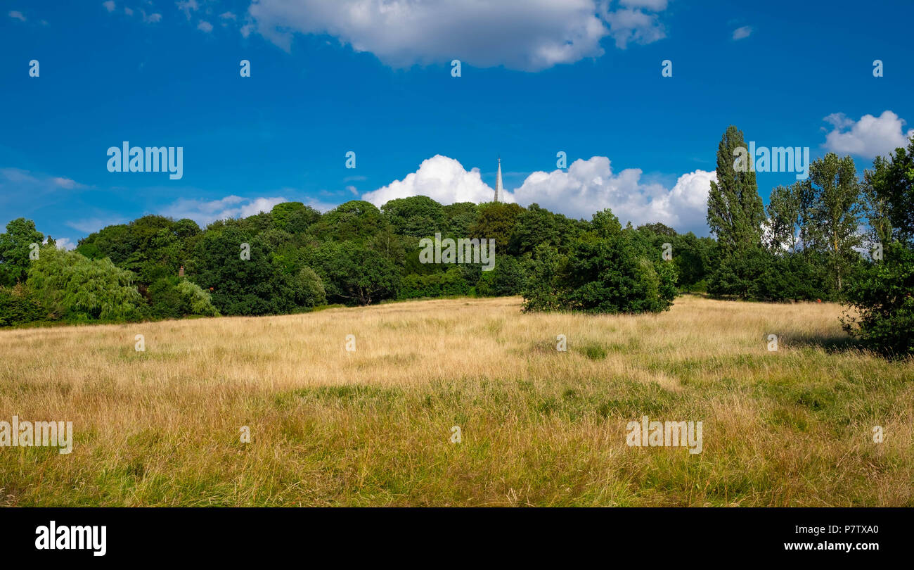 London, England. 7th July 2018. The heatwave has made the grass on Harrow-on-the-Hill tinder dry. The present heatwave is set to continue. ©Tim Ring/Alamy Live News Stock Photo