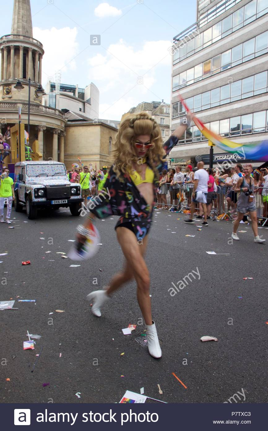 London, UK. 7th July 2018. Pride celebrations in London. A drag queen walking down the Pride of London 2018 Parade, joining more than 1 million attending the march today to celebrate LGBT+. Credit: Dimple Patel/Alamy Live News Stock Photo
