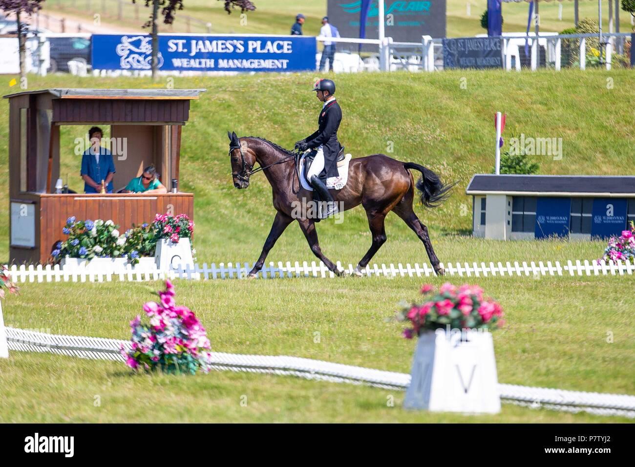 Alex Hua Tian riding Ballytiglea Vivendi. CHN. St James Place Barbury Horse Trials. Horse Trials.CIC*** Section B. Dressage. Barbury Castle. Wroughton. Somerset. UK. Day 2. 06/07/2018. Stock Photo