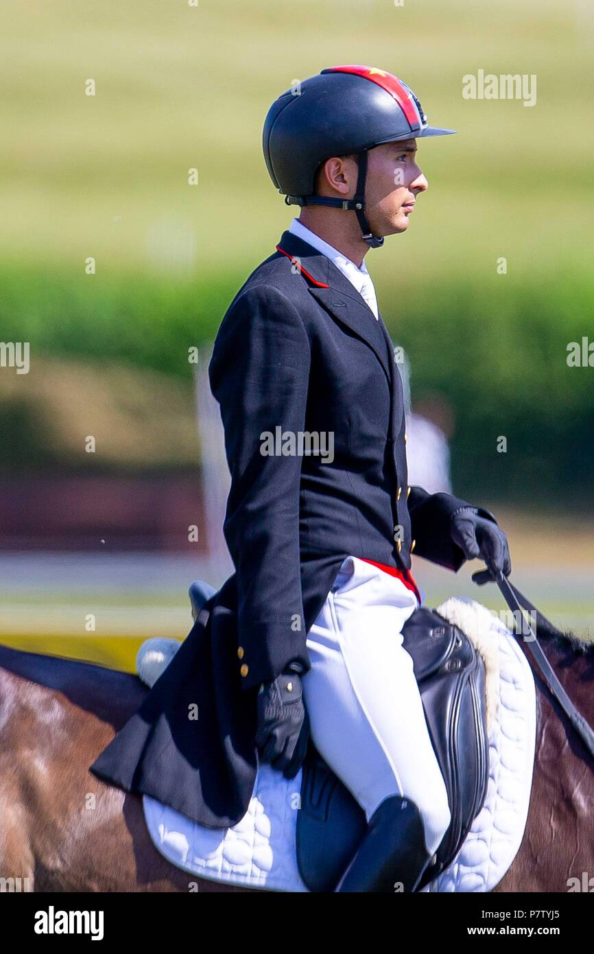 Alex Hua Tian riding Ballytiglea Vivendi. CHN. St James Place Barbury Horse Trials. Horse Trials.CIC*** Section B. Dressage. Barbury Castle. Wroughton. Somerset. UK. Day 2. 06/07/2018. Stock Photo