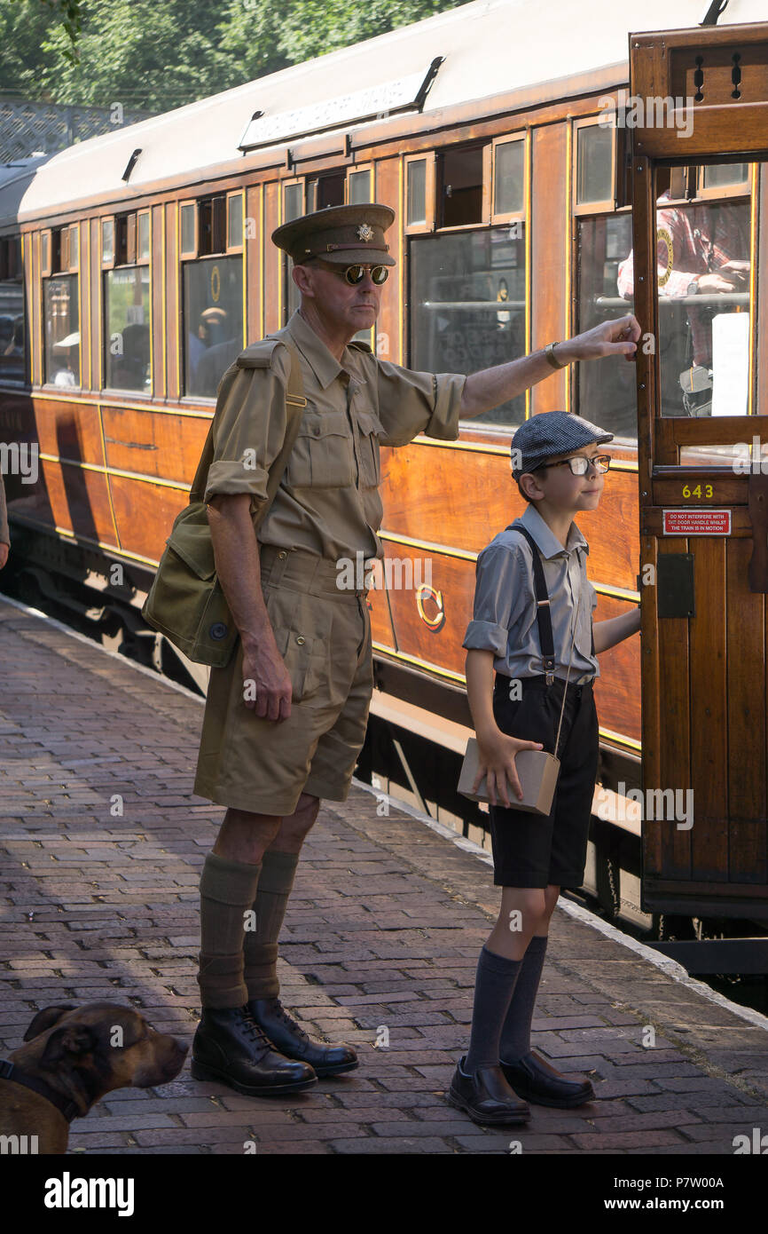 Kidderminster, UK. 7th July, 2018. A journey back in time continues at the Severn Valley Railway as all involved turn the clock back to the 1940s. Visitors and staff pull out all the stops to ensure a realistic wartime Britain is experienced by all on this heritage railway line. Credit: Lee Hudson/Alamy Live News - Stock Image