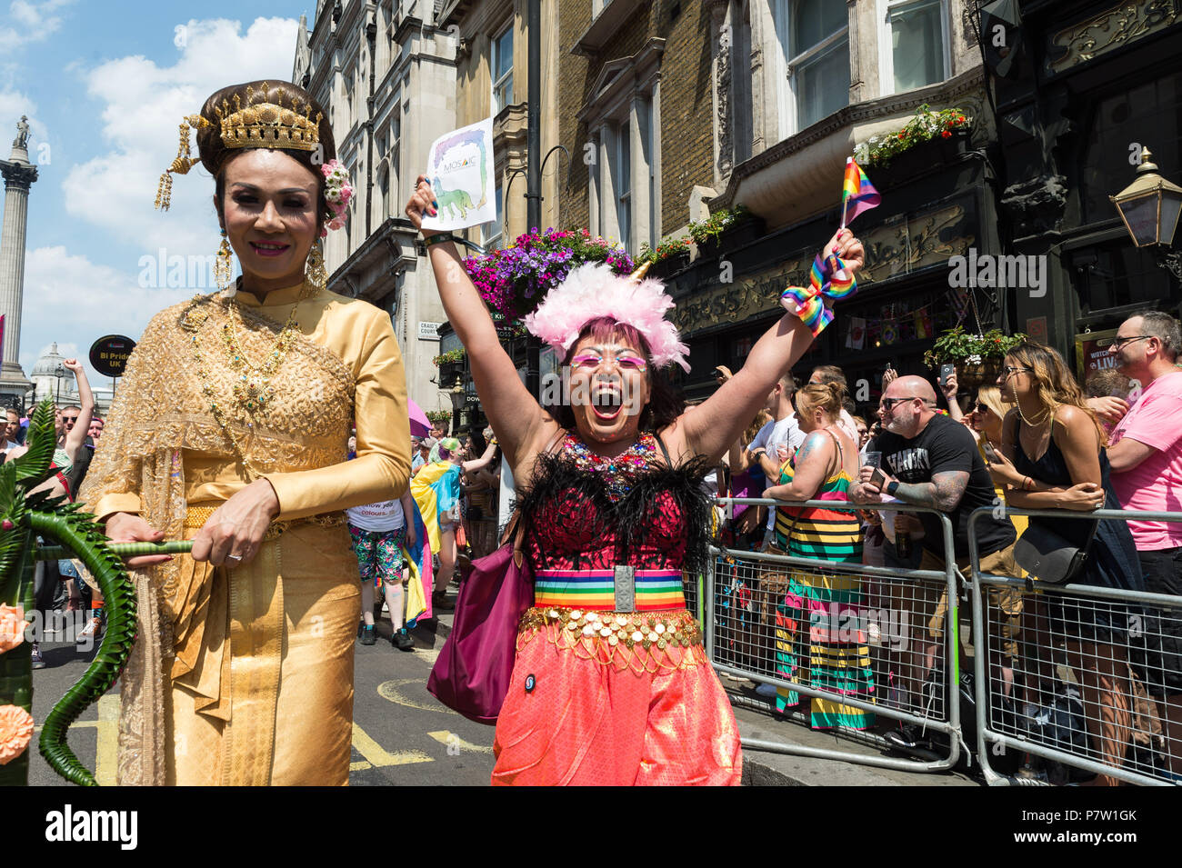 London, UK. 7th July, 2018. Revellers take part in the Pride in London parade. The annual festival attracts hundreds of thousands of people to the streets of the British capital to celebrate the LGBT+ community. Credit: Wiktor Szymanowicz/Alamy Live News Stock Photo