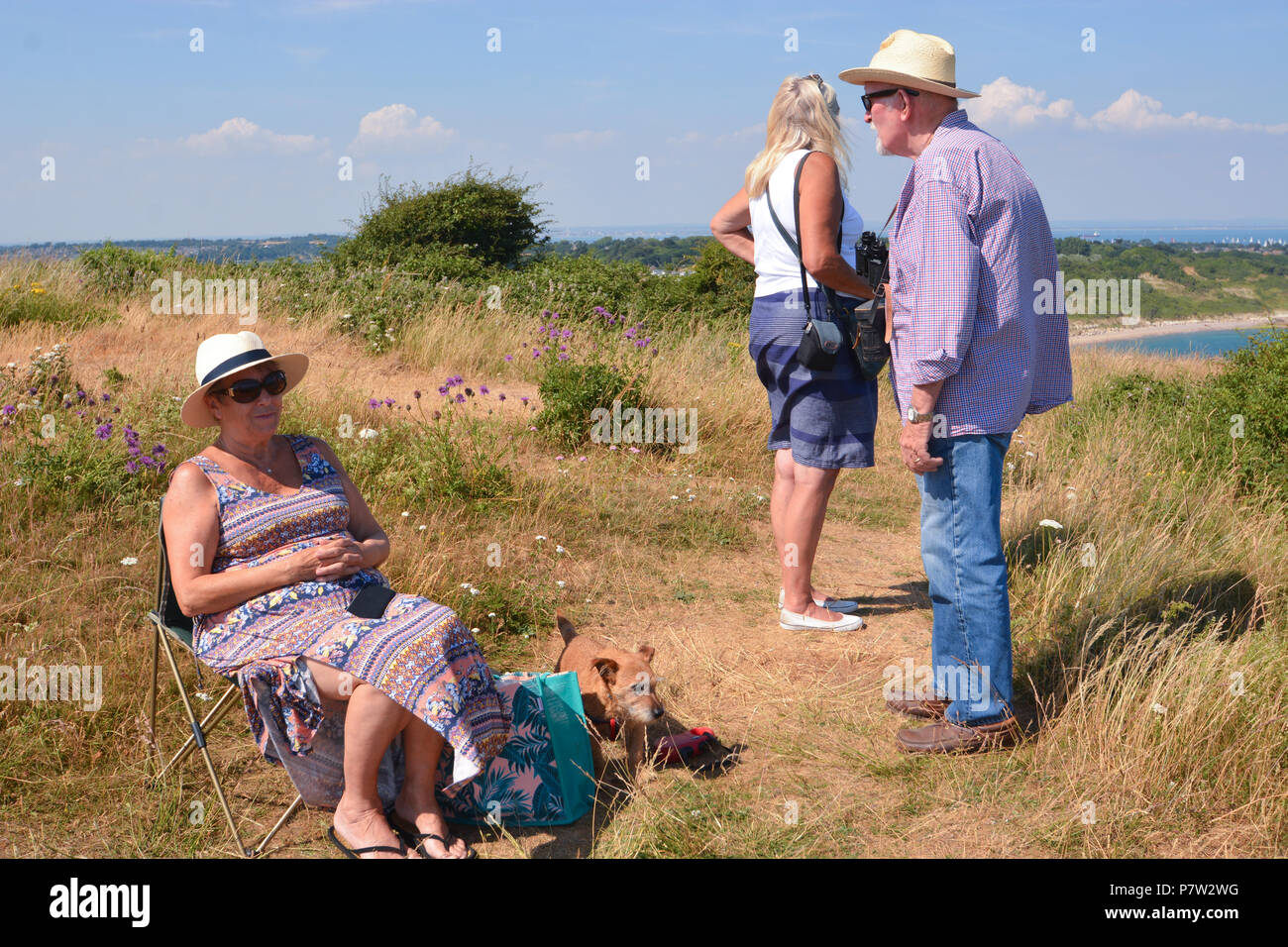 Culver Down, UK. 07th July, 2018. Tourists and locals gather on the top of Culver Down on the Isle of Wight, UK, to watch the 'Round The Island Yacht Race' 2018. Credit: Matthew Blythe/Alamy Live News - Stock Image