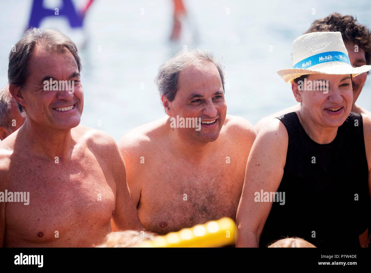 Barcelona, Spain. 08th July, 2018. Catalonian regional president, Quim Torra (C), former Catalonian regional president Artur Mas (L), and actress Lloll Bertran (R) attend a charity event for multiple sclerosis in Barcelona, Spain, 08 July 2018. Credit: Quique Garcia/EFE/Alamy Live News - Stock Image