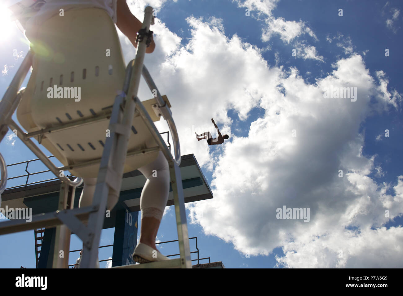 Bolzano, Italy. 07th, Jul 2018. Rogava Sandro from Russia competes in the Men's 10m Platform Diving Semi-Final on day two at Bolzano Lido, during 24th FINA Diving Grand Prix in Bolzano, Italy, 07 July 2018. (PHOTO) Alejandro Sala/Alamy Live News Stock Photo