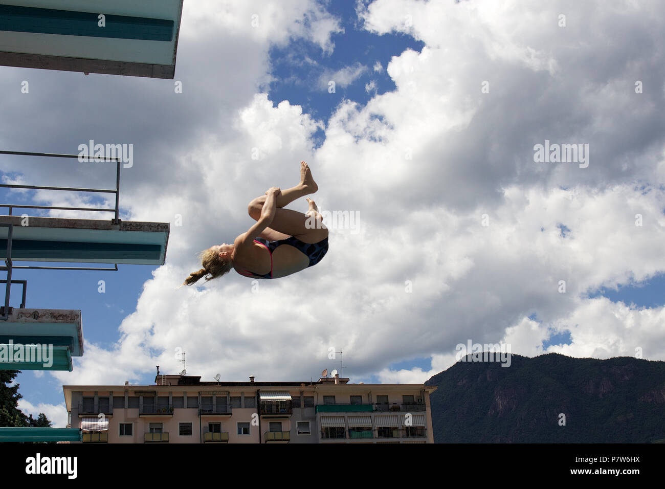 Bolzano, Italy. 07th, Jul 2018. Tuxen Hellen from Norway competes in the Women's 3m Springboard Diving Semi-Final on day two at Bolzano Lido, during 24th FINA Diving Grand Prix in Bolzano, Italy, 07 July 2018. (PHOTO) Alejandro Sala/Alamy Live News Stock Photo