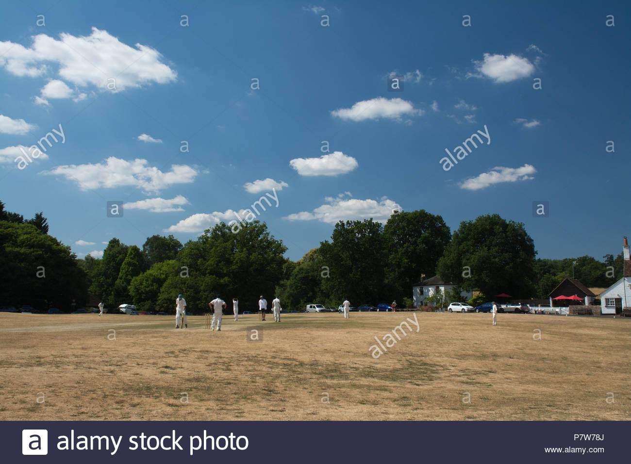 Tilford, Surrey, UK. 8th July, 2018. As the heatwave continues, people were having fun in the sun on a beautiful Sunday afternoon in the pretty village of Tilford. Many were cooling off in the river or sunbathing, while a cricket match was being played on the village green. Credit: GP Images/Alamy Live News. - Stock Image