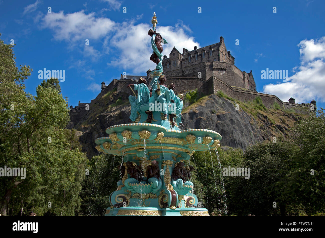 Edinburgh, Scotland, UK. 8 July 2018. Ross Fountain, West Princes Street Gardens switch on day, the fountain water which was switched off in 2010. - Stock Image