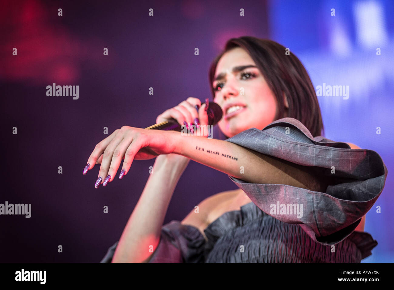 Dua Lipa Tattoo: Roskilde, Denmark. 7 July 2018. . The English Singer And