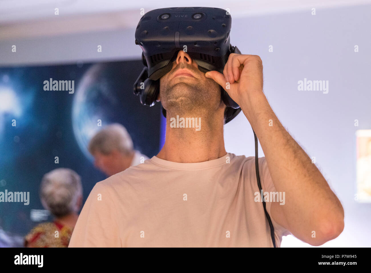 London, 8th July 2018.The British Interplanetary Society features the 'Space Refugee' installation, about first Syrian cosmonaut Muhammed Faris, including and a virtual reality Mars walk virtual reality simulation. Art Night 2018 features 12 special projects curated by Hayward Gallery and over 50 presented in Art Night Open curated by cultural organisations and creatives throughout South Bank, Vauxhall and Nine Elms, on Saturday 7th and Sunday 8th July. Credit: Imageplotter News and Sports/Alamy Live News - Stock Image