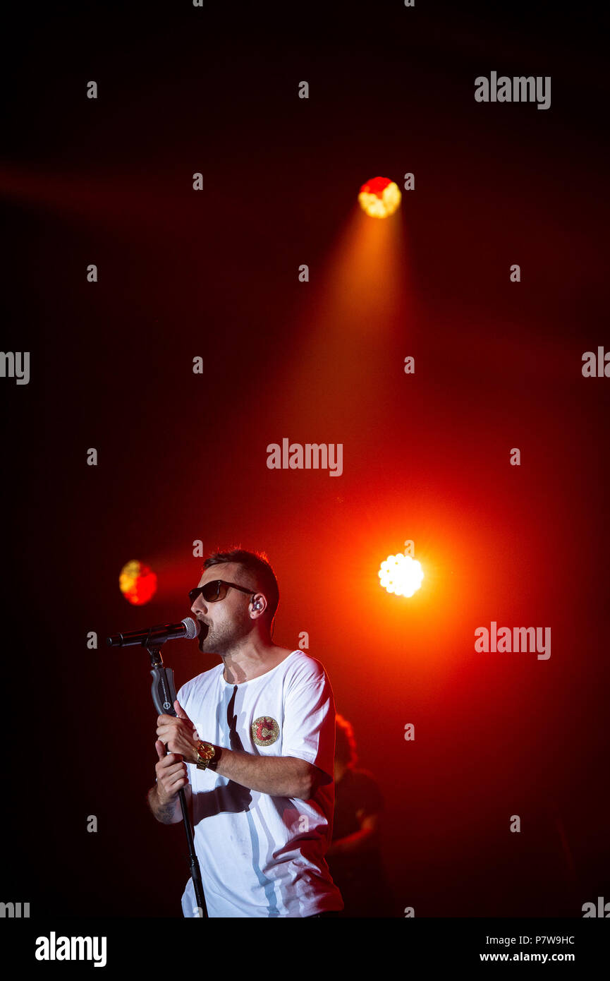 Rome, Italy. 7 July 2018. Silvano Albanese known by his stage name Coez performing live on stage in Rome at Rock in Roma festival in front of 32000 people, Rome, Italy on 7 July 2018. Photo By Giuseppe Maffia Stock Photo
