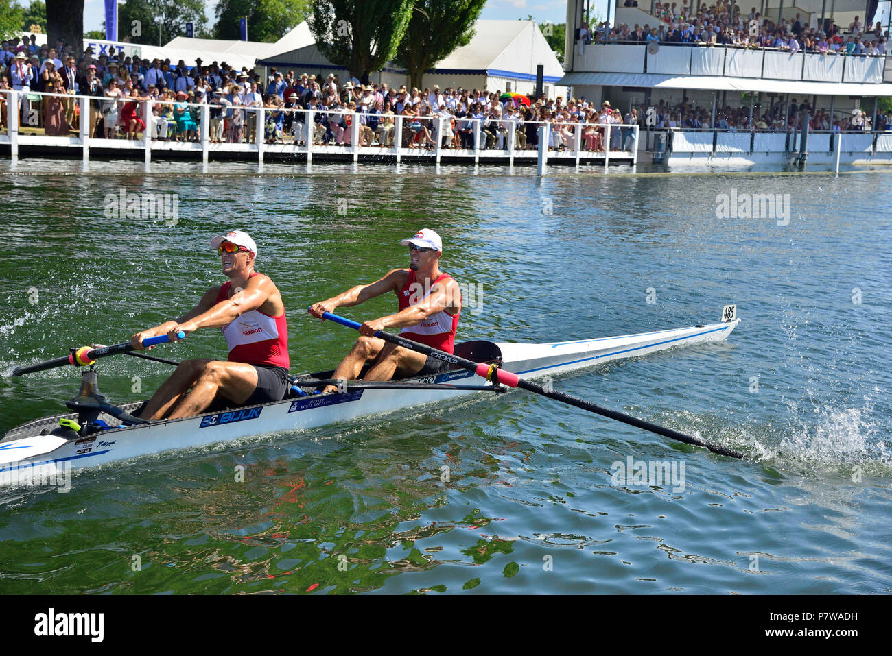 Henley-on-Thames, UK. 08th July, 2018. In the Silver Goblets the Olympic Champions in the double sculls Martin and Valent Sinkovic from Croatia were led to the barrier by Watts and Widdicombe of the Georgina Hope Rinehart National Training Centre, Australia.  However the Sinkovic brothers rowed through the Aussies to ultimately win with an easily verdict and breaking the course record by two seconds.  This record was previously held by Redgrave and Pinsent,  and Reed and Triggs Hodge. Credit Wendy Johnson/Alamy Live News Stock Photo