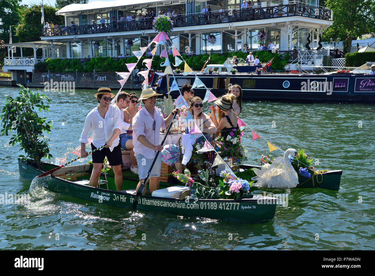 Henley-on-Thames, UK. 08th July, 2018. Finals day at Henley Royal Regatta was a spectacle for the crowds both by the thrilling rowing and unusual watercraft on the River Thames. Credit Wendy Johnson/Alamy Live News - Stock Image