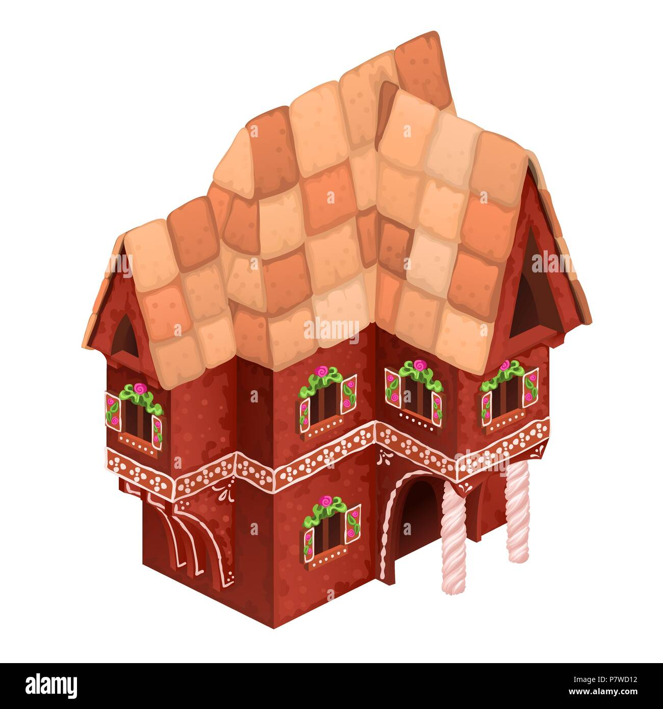 Toy two-storey house of red color. Gingerbread house isolated on white background. Vector cartoon close-up illustration. Stock Vector
