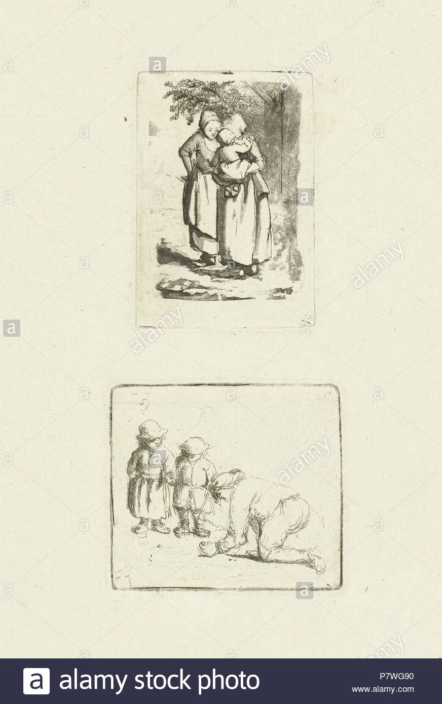 A man and two boys playing marbles, Marie Lambertine Coclers, 1776-1815. - Stock Image