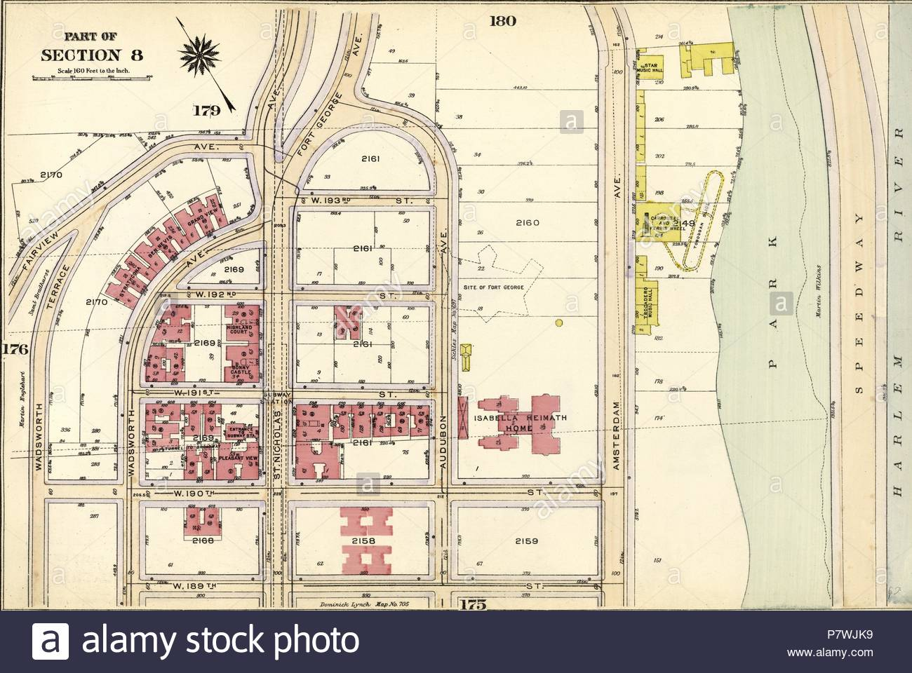 Plate 177: Bounded by Fairview Avenue, Isabella Heimath Home, Amsterdam Avenue Harlem River,W. 189th Street, W. 190th Street and Wadsworth Terrace. - Stock Image