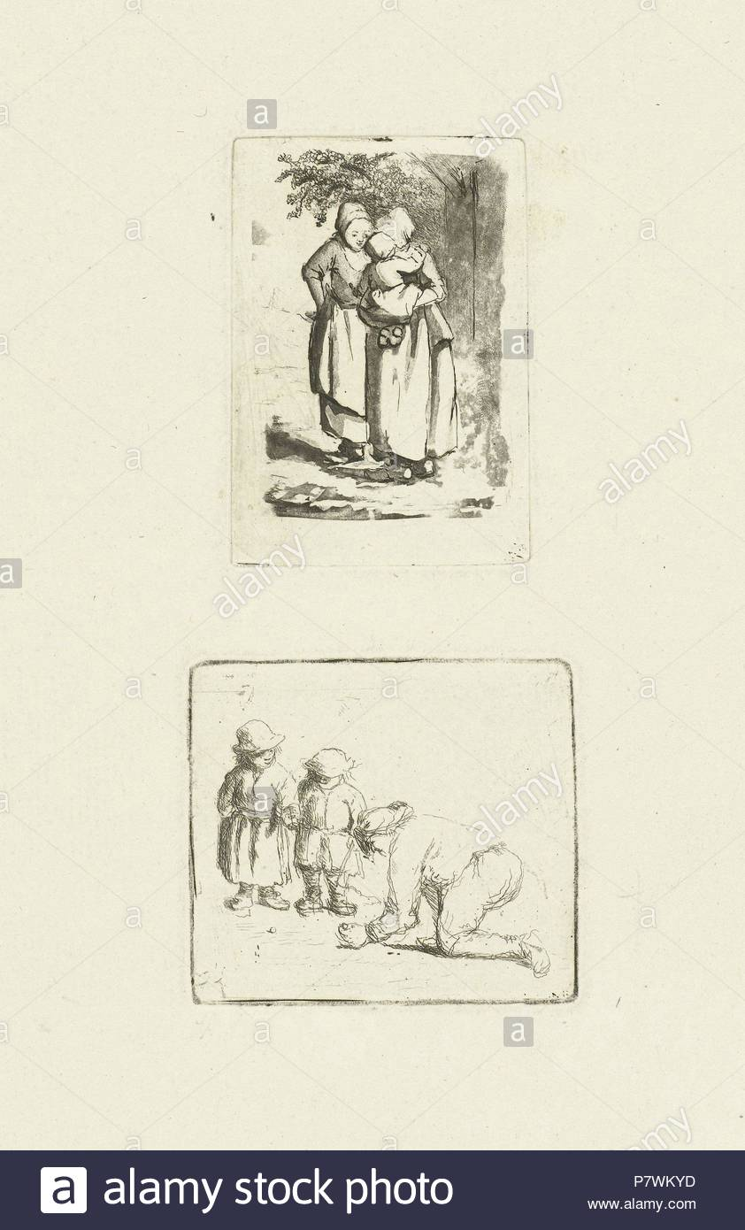 Two standing peasant women, one with a child on her arm, print maker: Marie Lambertine Coclers, 1776 - 1815. - Stock Image