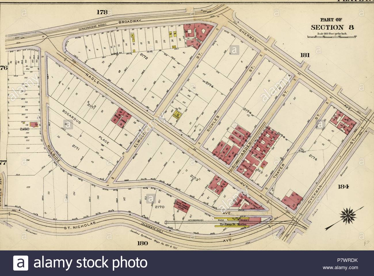 Plate 179: Bounded by Broadway, Sherman Avenue, Dyckman Street, St Nicholas Avenue and Fairview Avenue. - Stock Image
