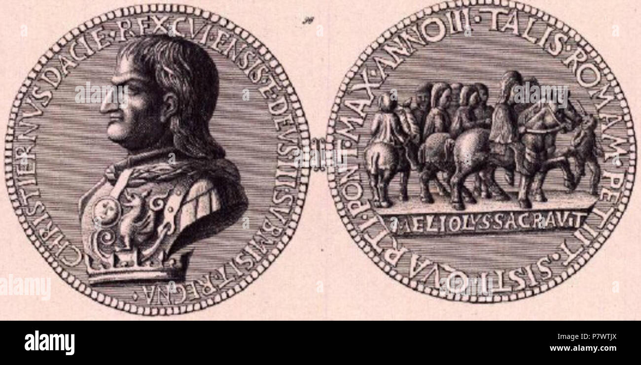 English: Medal of Christian I of Denmark, Norway and Sweden, made during his journey through Italy, by Sperandio Migliolo in 1474. Adverse text: 'CHRISTIERNVS DACIE. REX. CVI. ENSIS. ET. DEVS. III. SVBMISIT. REGNA.' Reverse text: 'TALIS. ROMAM. PETIIT. SISTI. QVARTI. PONT. MAX. ANNO III.' (Inside image: 'MELIOLVS. SACRAVIT.') (p.131) . 23 August 2012 91 Christian I medal - Stock Image