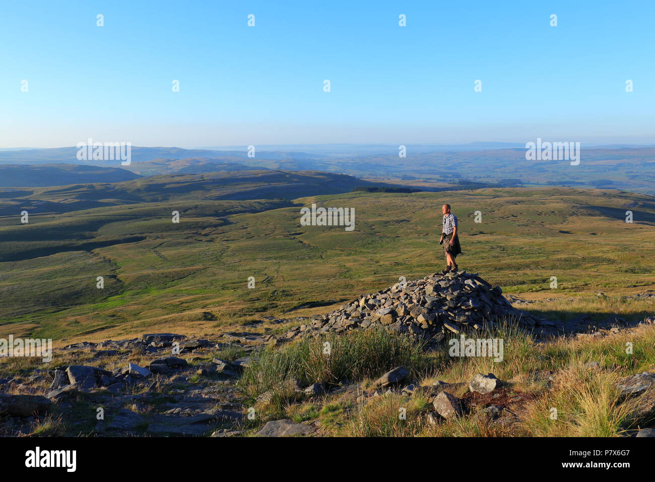 Myself doing a bit of hiking in the Yorkshire Dales National Park. I took this while walking up Ingleborough Mountain near Clapham. - Stock Image