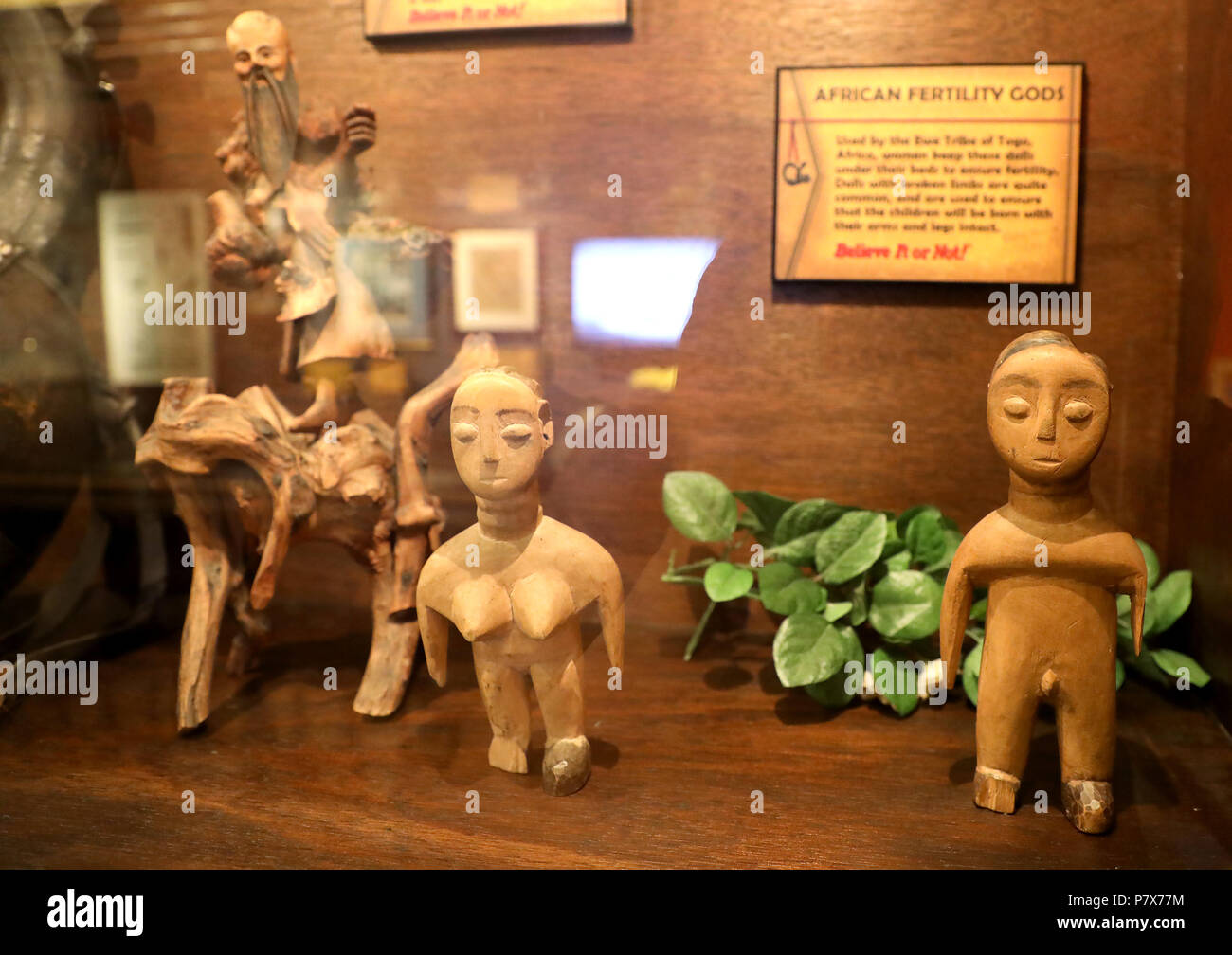 African Fertility Gods Wooden Sculpture - Stock Image