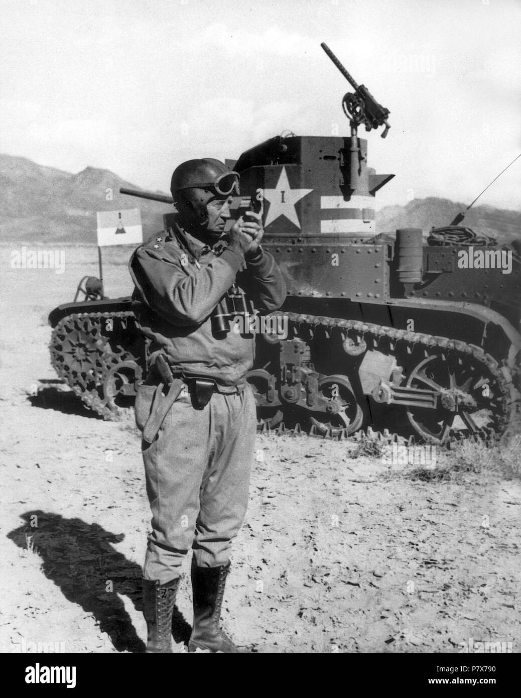 English: George S. Patton next to a M2 tank, Tunisia . Nov-Dec 1942 171 George S. Patton 05 - Stock Image