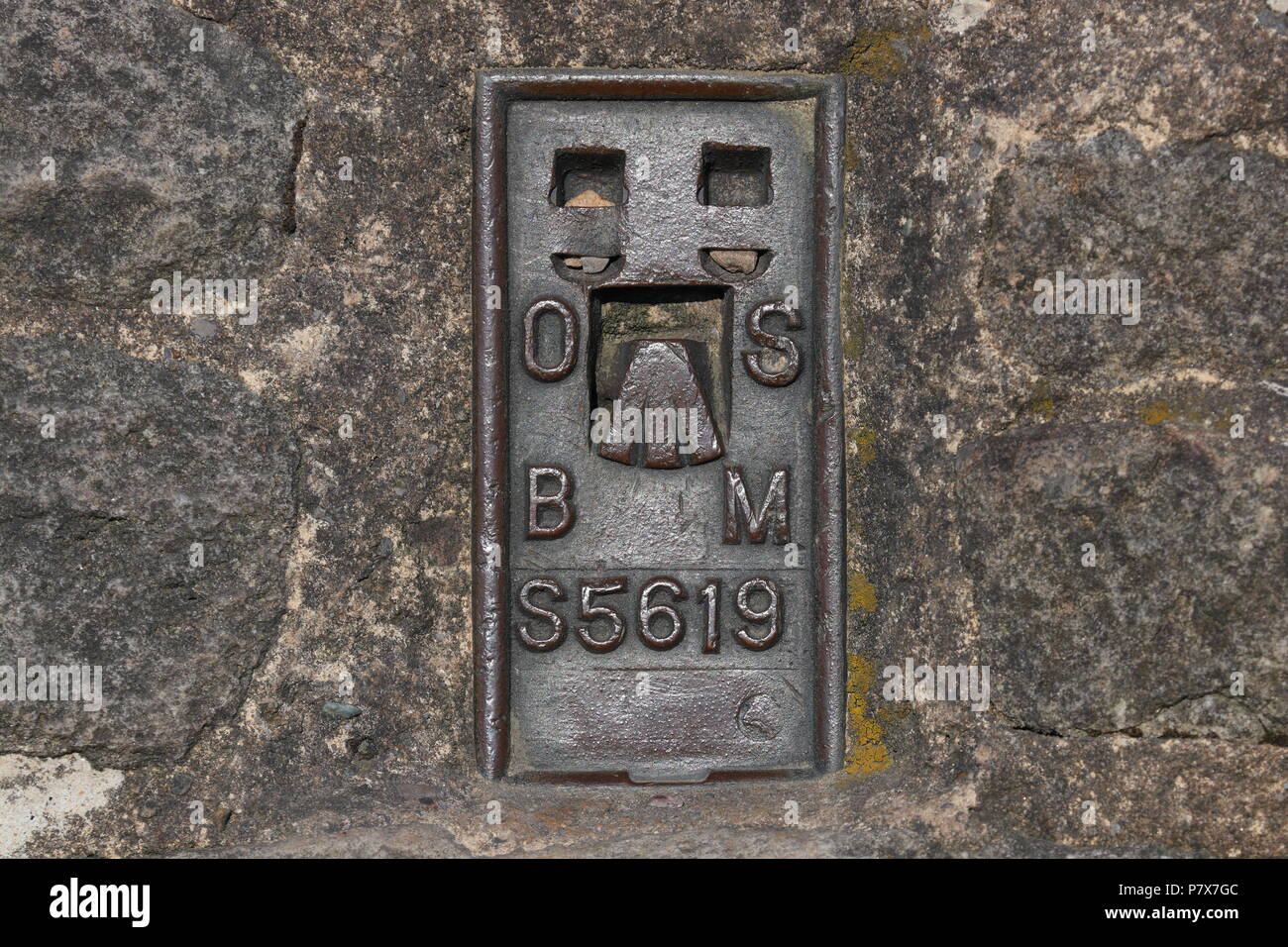 Ingleborough Trig Point which is on the summit of Ingleborough Mountain top. - Stock Image